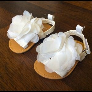 Bebe baby girl sandals size 2 floral white shoes